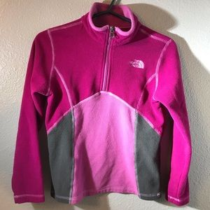 Girls The North Face pink & grey fleece pullover